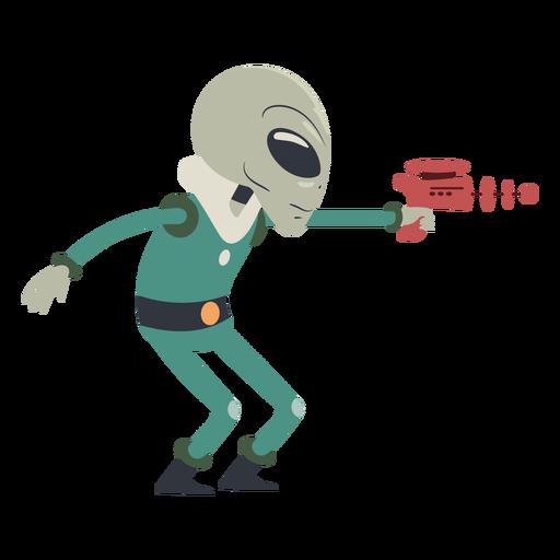 Alien shooting gun character