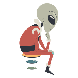 Alien sitting down character