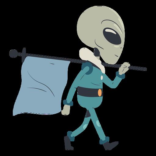 Alien caminando con carácter de bandera