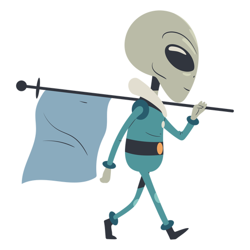 Alien walking with flag character