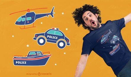 Design de t-shirt de transporte policial