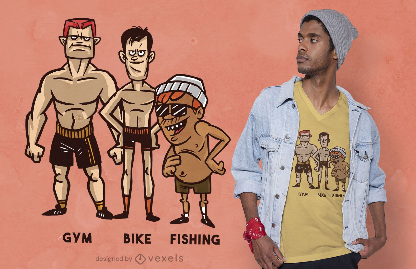 Fishing fitness t-shirt design