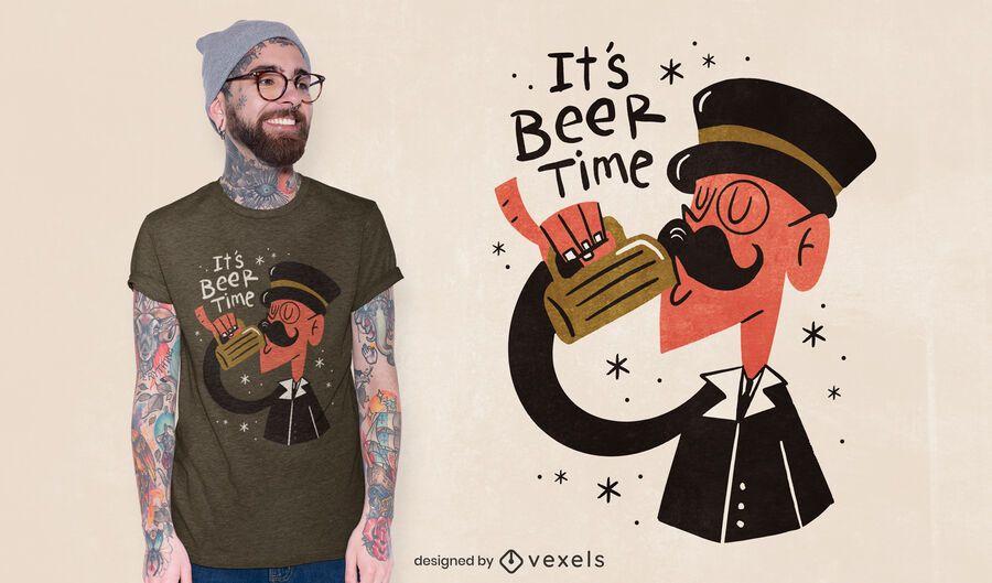 Diseño de camiseta de cerveza Gentleman.