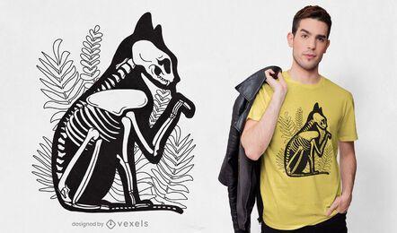 Diseño de camiseta de esqueleto de gato