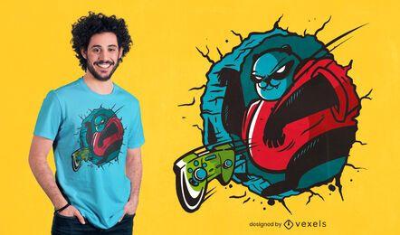 Diseño de camiseta panda gamer