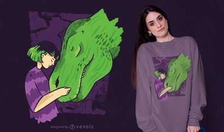 Girl dinosaur t-shirt design