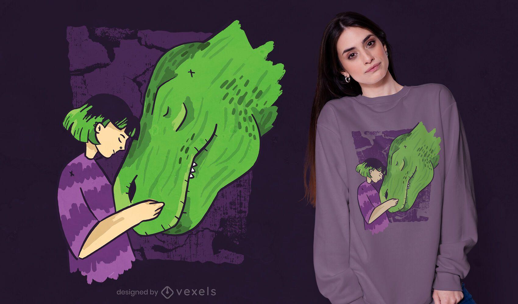 Dise?o de camiseta de dinosaurio ni?a