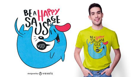 Design de t-shirt de salsicha feliz