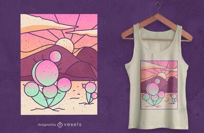 Diseño de camiseta de paisaje desértico