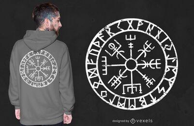 Design de camiseta com bússola Vegvisir
