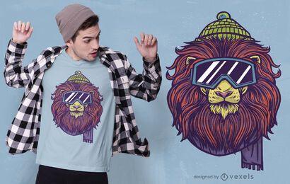 Diseño de camiseta de león de esquí