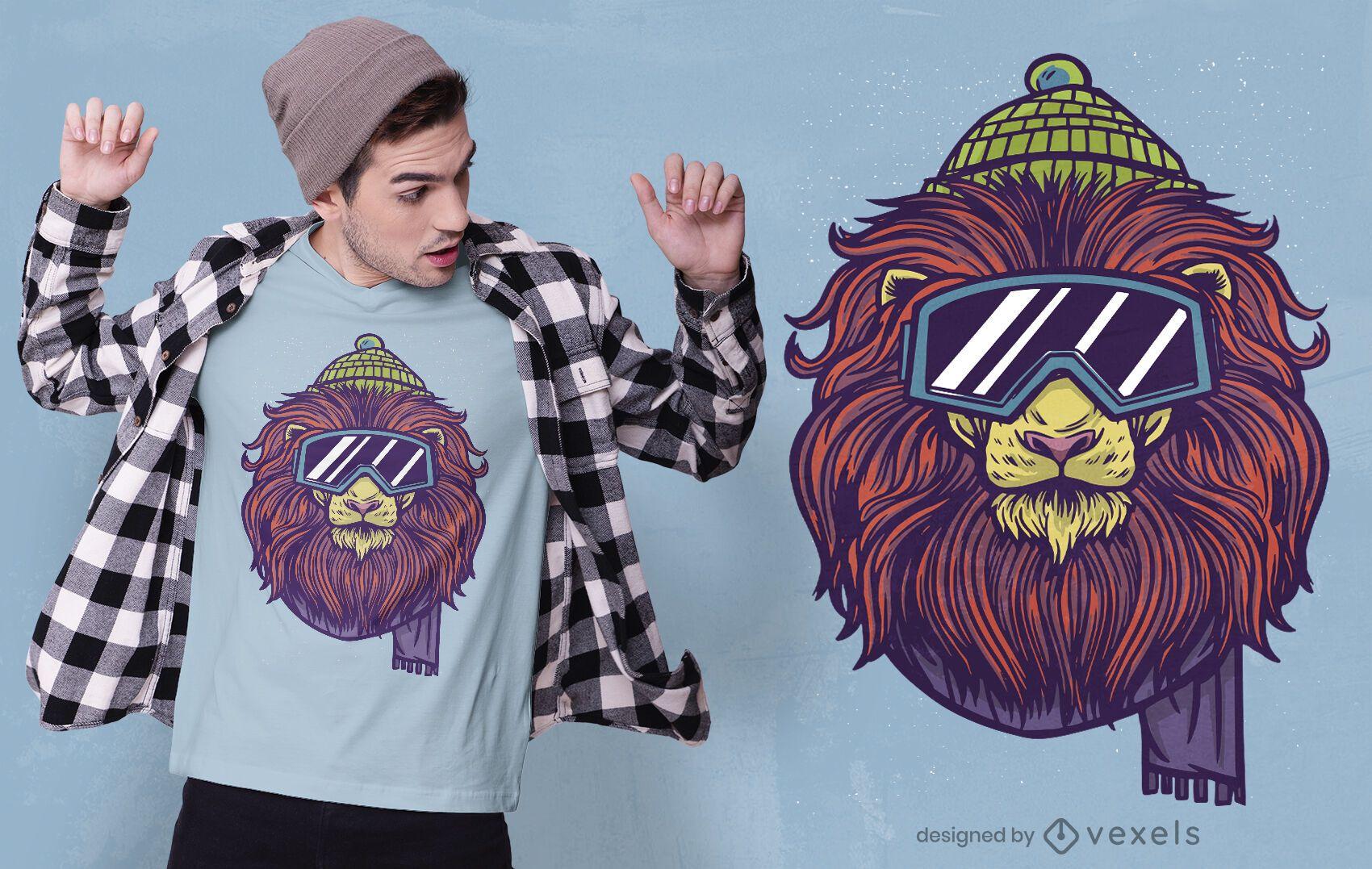 Ski lion t-shirt design