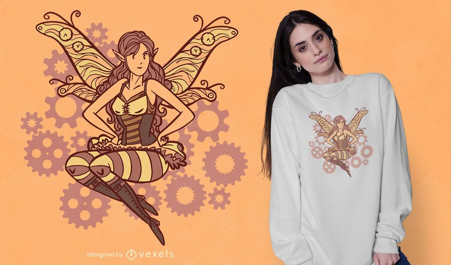 Steampunk fairy t-shirt design