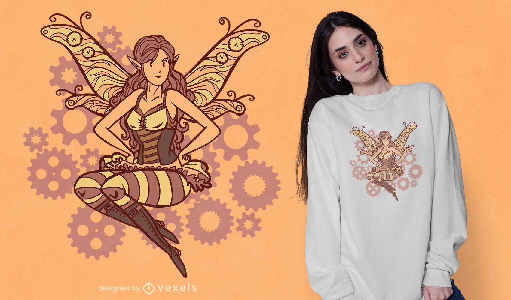 Diseño de camiseta de hadas Steampunk