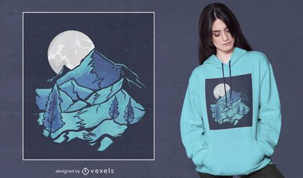 Diseño de camiseta de paisaje lunar.