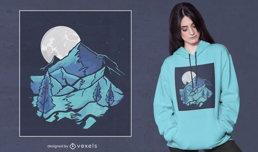 Moon landscape t-shirt design