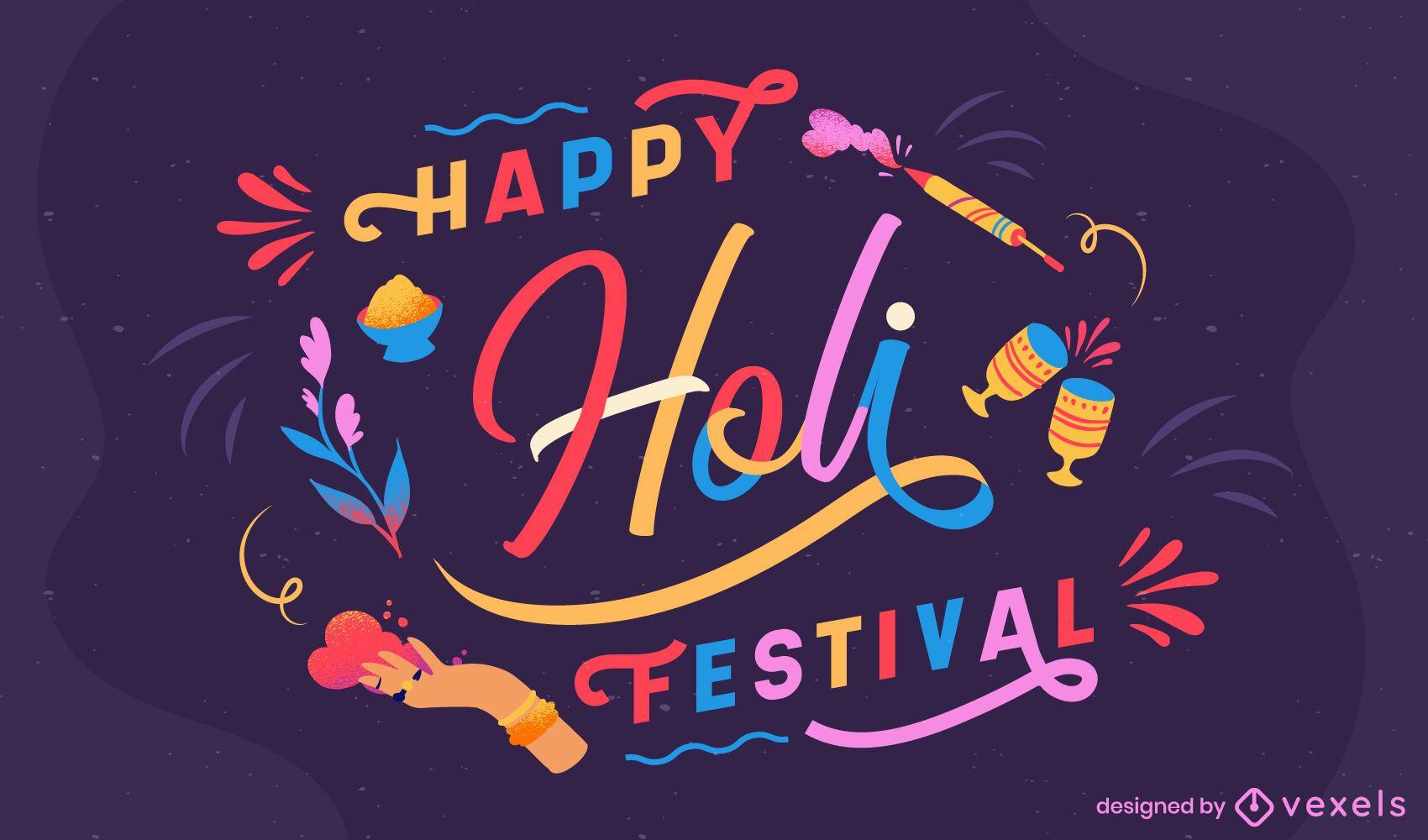 Happy holi festival lettering design
