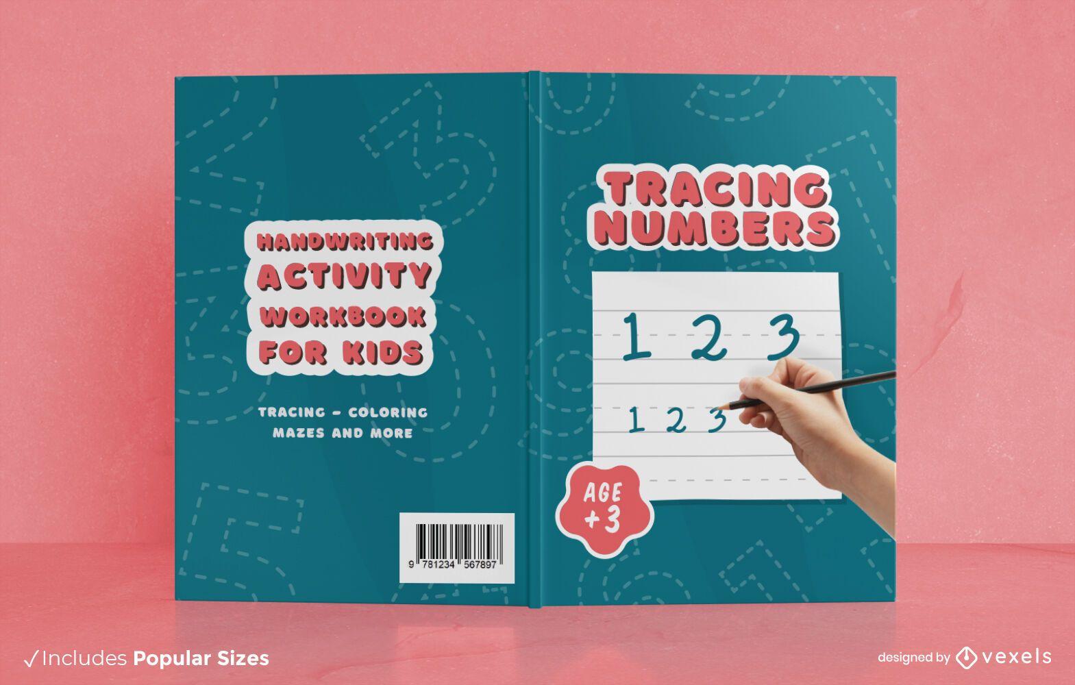 Diseño de portada de libro de actividades de escritura a mano