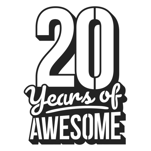 20 years of awesome cake topper Transparent PNG