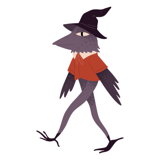 Bird witch hat creature textured