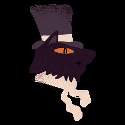 Criatura de gato sombrero negro con textura