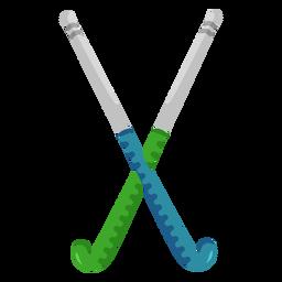 Blue & green hockey sticks flat