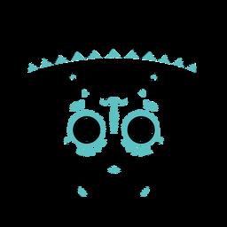 Blue skull sombrero color stroke