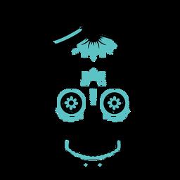 Blue skull top hat color stroke