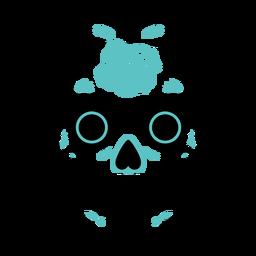 Blue sugar skull moustache color stroke