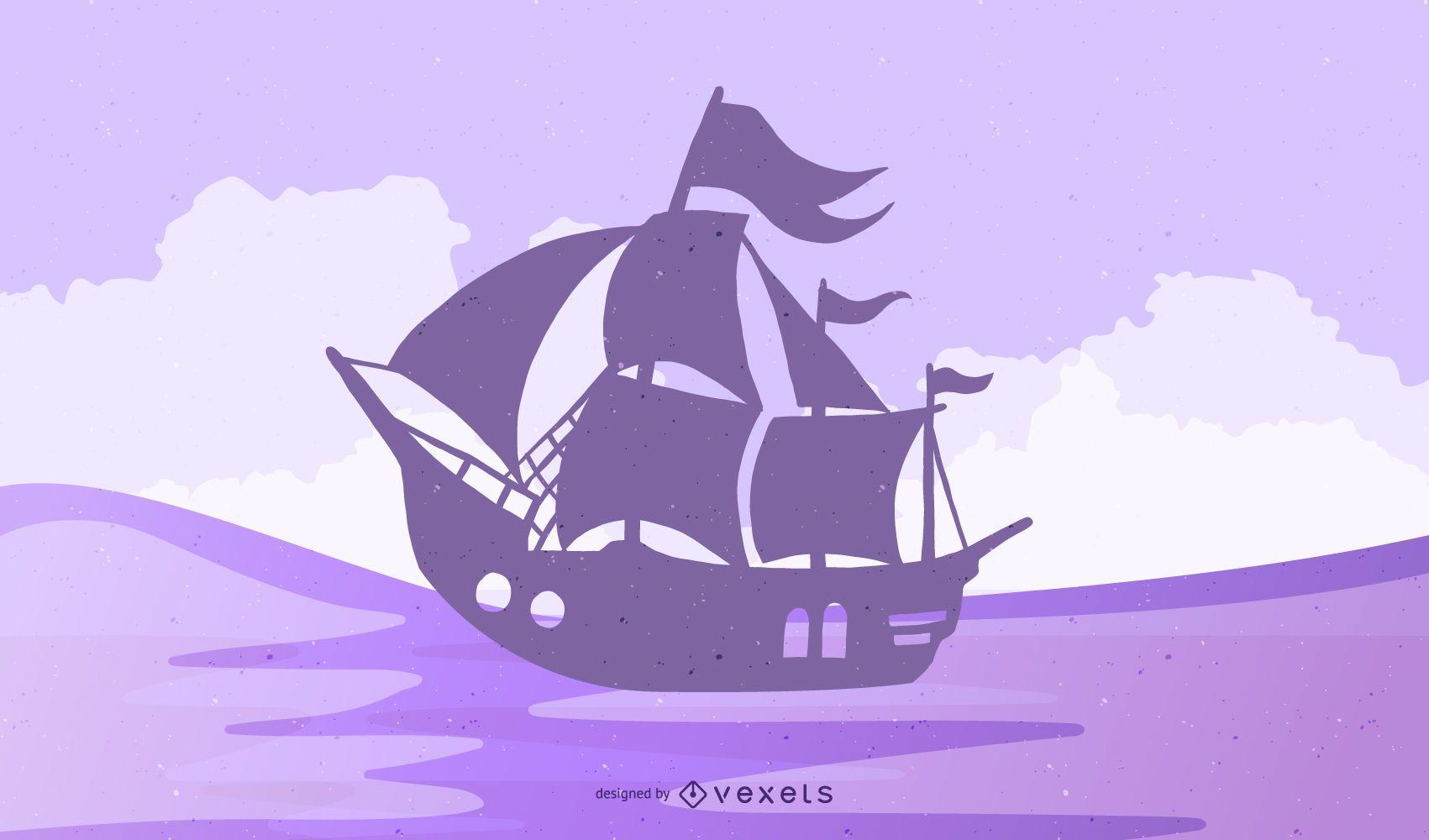 Silueta de barco pirata