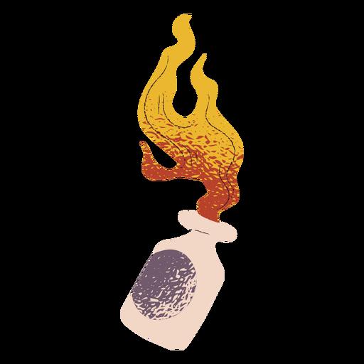 Botella en llamas con textura