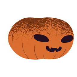 Carved pumpkin creepy smile textured