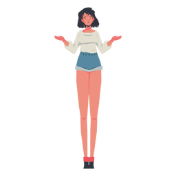 Casual girl shrugging character