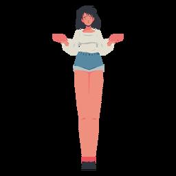 Garota casual encolhendo os ombros personagem