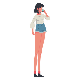 Casual girl speaking phone character