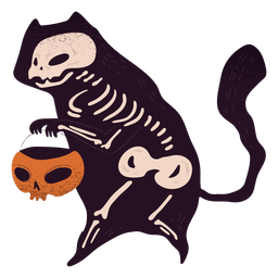 Cat skeleton trick or treat textured