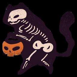 Truco o trato de esqueleto de gato con textura