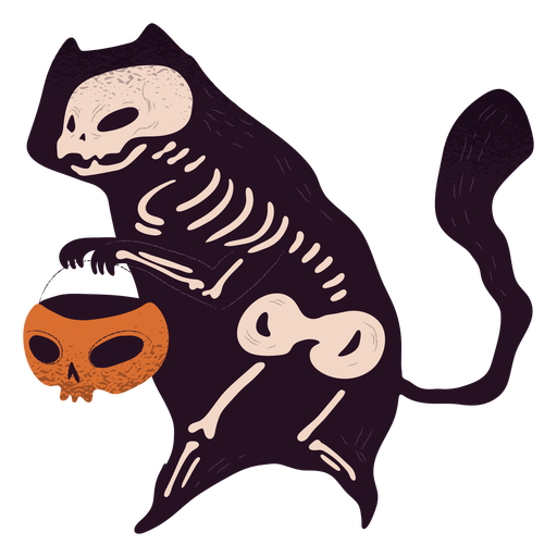 Cat skeleton trick or treat textured
