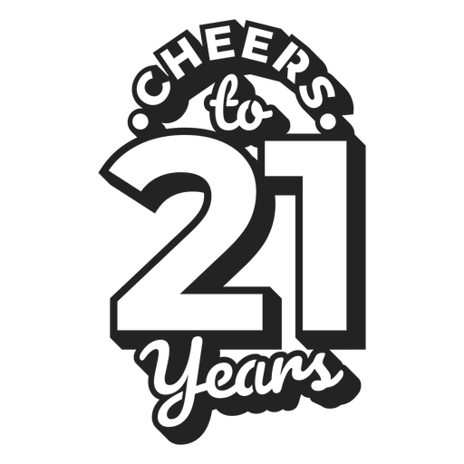 Cheers 21 cake topper Transparent PNG