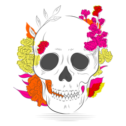 Cranium colorful flowers hand drawn
