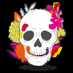 Dibujado a mano flores de colores de cráneo