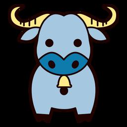 Cute blue bull flat