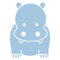 Cute blue hippo cut out