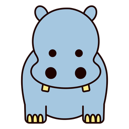 Cute blue hippo flat