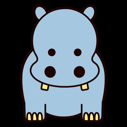 Cute blue hippo flat
