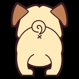 Lindo, bulldog, espalda, plano