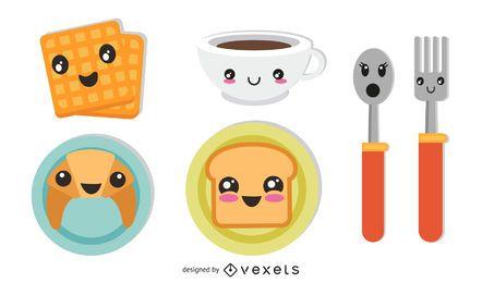 Elementos de café da manhã fofinho