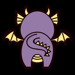 Cute dragon back flat