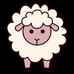 Cute fluffy sheep flat