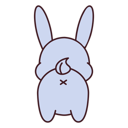 Cute gray bunny back flat